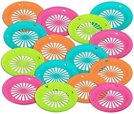 Lime Green Lemon Green and Orange. 2 of Each For 9 Inch Plates Bright Pink 4 Colors Vintage Set of 8 Paper Plate Holders Plastic