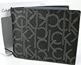 Calvin Klein CK Logo Mens Wallet Billfold Bifold Genuine Leather Black Boxed