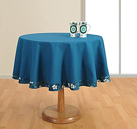 Round Table Cover Duck Cotton - 60 Inch Diameter -Blue