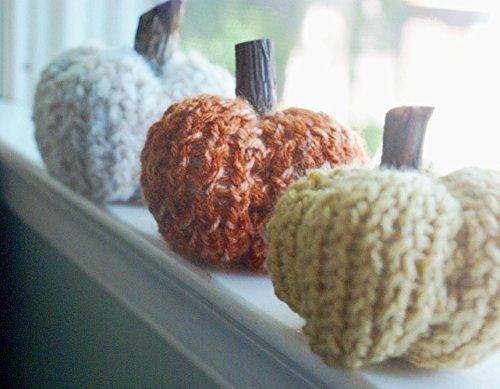 Set of 3 Handmade Knit Pumpkins with Wood Stem
