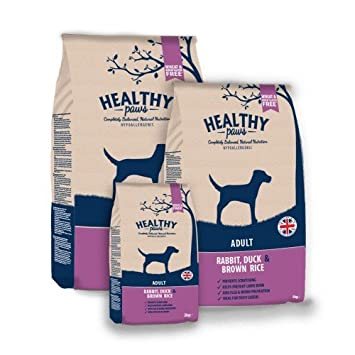 Healthy Paws adult dog food : Rabbit, duck & Brown Rice, Wheat and wheat Gluten free with the added bonus ingredients that prevent flea and worm infestation, lawn burn and prevents paw chewing (12kg)