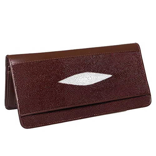 Pearls Genuine ID Purse Long Bifold Credit Card 2 Coin With Wallet Brown Stingray Leather grwEq7g