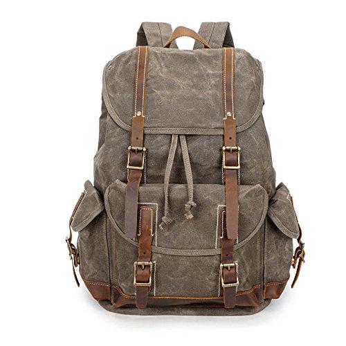 Water Resistant Leather Canvas Backpack School Bag Vintage R