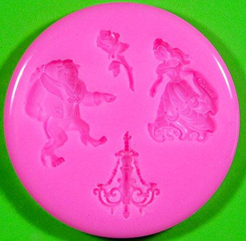 La bella y la Bestia Molde de silicona para la torta de Decoración Pastel de Cupcake Toppers Glaseado Sugarcraft Tool por Fairie Blessings: Amazon.es: Hogar