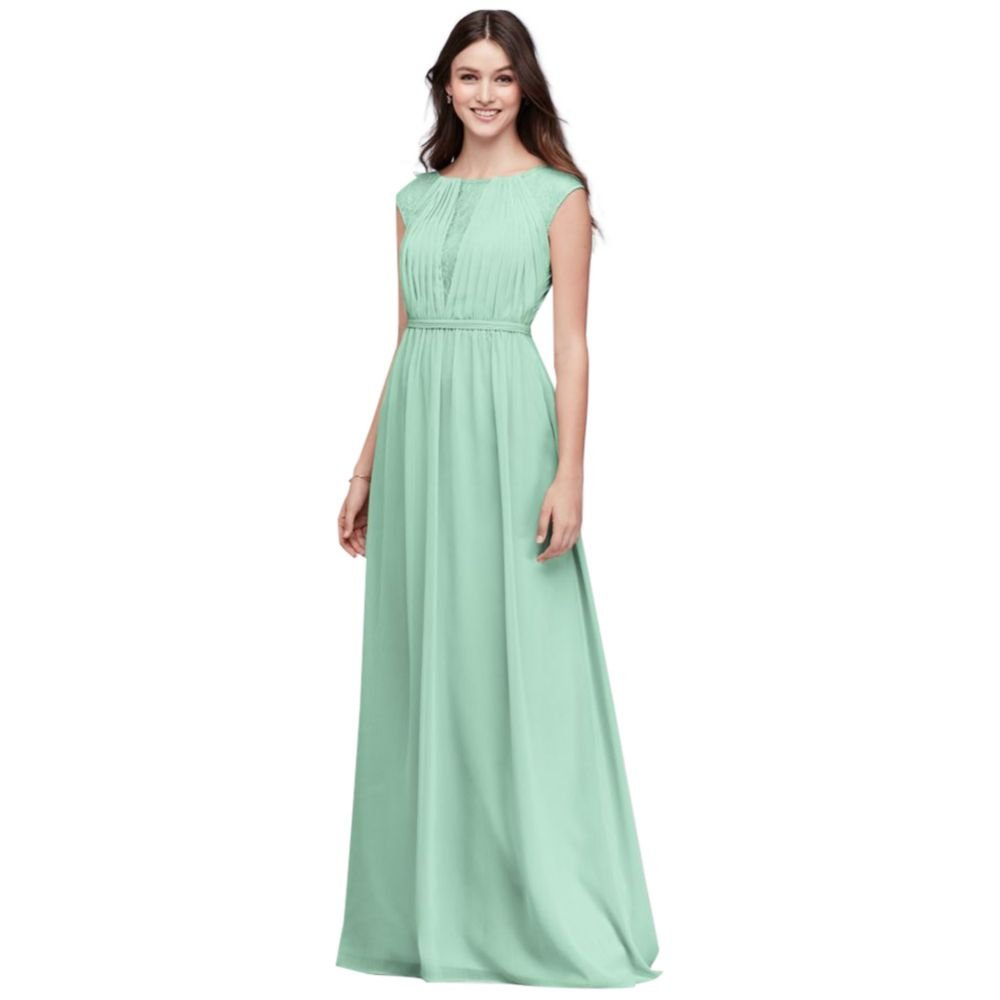 David's Bridal Chiffon Bridesmaid Dress with Chantilly Lace Inset Style F19578, Mint, 26 by David's Bridal
