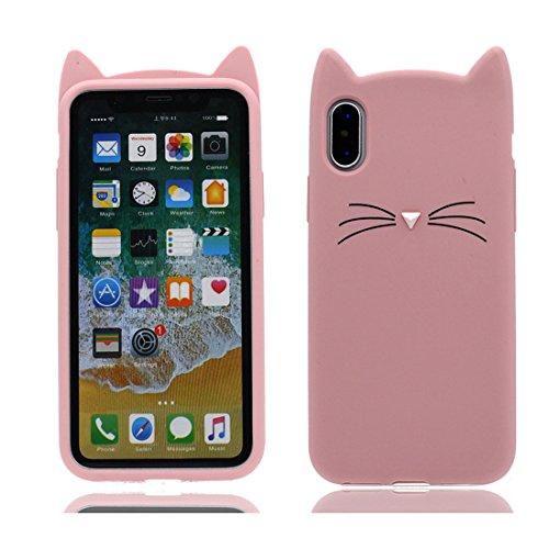 3D Cartoon Cat ( gatto ) iPhone X Custodia, copertura per iPhone X / Survivor Clear case per iPhone X / Cartoon Morbido Flessibile TPU Cover Shell Scivolamento di polvere