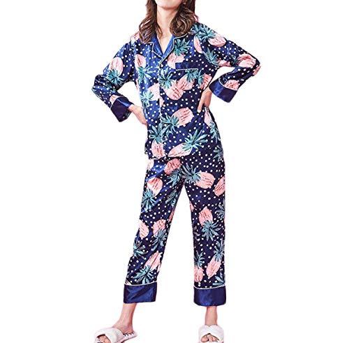 Patrón Noche Trousers Fashionista Otoño Taille Moda Camison Mujer Pijamas E Manga Elastische Casual Larga Solapa Ropa Estampadas De xOnOZa7