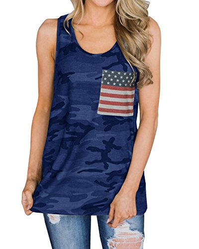 YOMISOY Womens Tank Tops Summer Loose American Flag Sleeveless Patriotic T-Shirts with Pocket