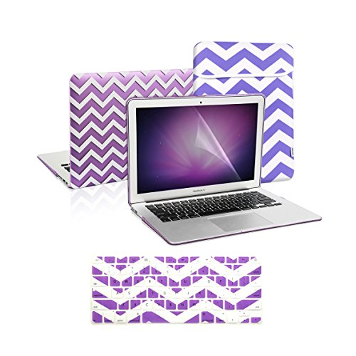 TOP CASE 4 in 1 Bundle - Chevron Series Rubberized Purple Hard Case Cover + Keyboard Cover Skin with LCD Screen Protector Plus Sleeve Bag Compatible with Apple MacBook Air 13