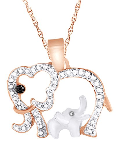 (Wishrocks Black & White Real Diamond Elephant Mom Pendant Necklace 14K Rose Gold Over Sterling Silver )