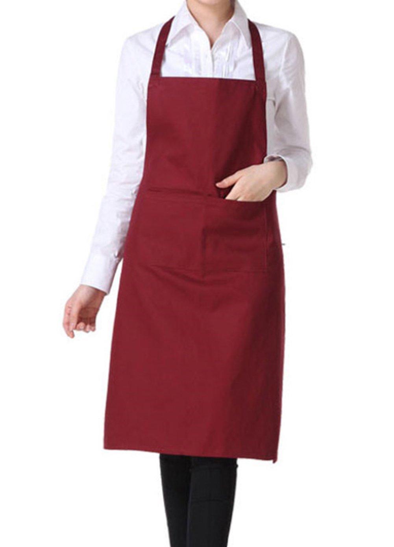 Da.Wa Kitchen-Garden-Craftsmen-Waitress Waiter 2 Pocket Bib Apron(Brown,Black,Wine Red, Red)