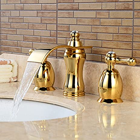 Wovier Gold(ti-pvd) Waterfall Bathroom Sink Faucet, Two Handle Three ...