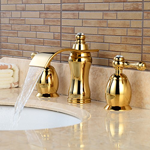 Wovier Gold Polished Waterfall Bathroom Sink Faucet,Two Handle Three ...
