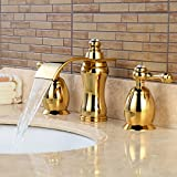 Wovier Gold(ti Pvd) Waterfall Bathroom Sink Faucet,Two Handle Three Hole  Vessel Lavatory Faucet,Widespread Basin Mixer Tap With Drain