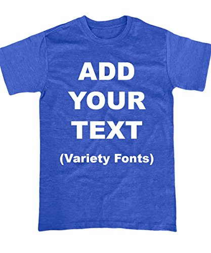 Custom T Shirts Ultra Soft Add Your Text for Men & Women Unisex Cotton T Shirt [Blue / 2XL]