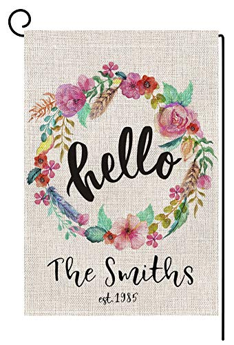 Personalized Last Name Garden Flag - Custom Hello Floral Wreath Small Burlap Yard Flag Vertical Double Sided 12.5 x 18 Inch Spring Summer Outdoor Decor -