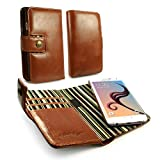 Alston Craig Personalised Genuine Vintage Leather Magnetic Wallet Case Cover for Samsung Galaxy S7 Edge - Brown