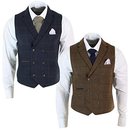 435d2290cd cavani Mens Double Breasted Herringbone Tweed Peaky Blinders Vintage Check  Waistcoat navy-blue 36 85