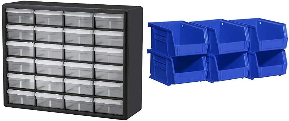 Akro-Mils 24 Drawer 10124, Plastic Parts Storage Hardware and Craft Cabinet, Black (1-Pack) & 08212BLUE 30210 AkroBins Plastic Storage Bin Hanging Stacking Containers, Blue, (6-Pack)