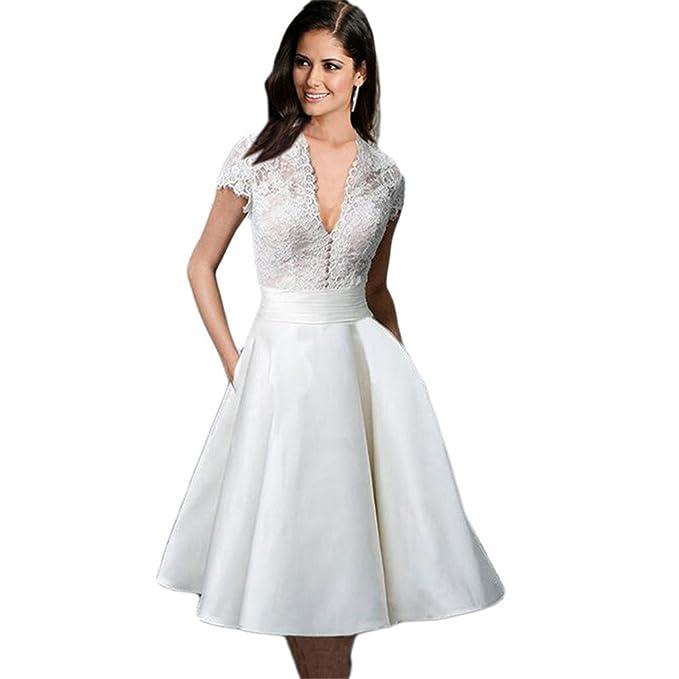 80da33694 Haroty Vestidos Encaje Escote V Patchwork Bodybcon Ajustados para Mujeres  Verano Wedding Boda Novia Fiesta Noche  Amazon.es  Ropa y accesorios