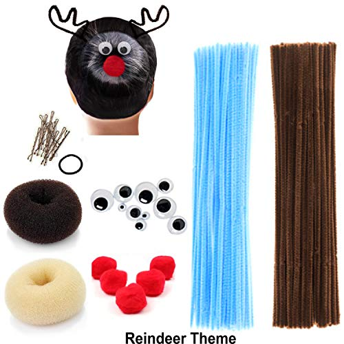 Beaute Galleria Creativity Kids Crafts DIY Hair Accessories Decor Chenille Stem Pipe Cleaner Pom Pom Googly Eye Bun Maker for Halloween Costume Spider Reindeer Christmas (Blue/Brown) -