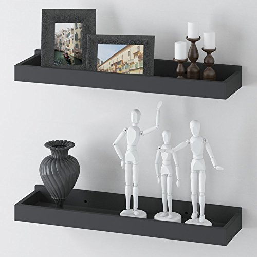 fasthomegoods set of 2 floating wall mounted shelf tray for home and office decoration 23 34 x 6 black black modern metal hanging office cubicle