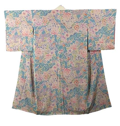 アイデアバッテリー冗長アンティーク 着物 襦袢 袷 錦紗 花車の意匠 正絹 裄62cm 身丈124cm