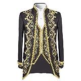 Men's luxury Casual Dress Suit Slim Fit Stylish Blazer Coats Jackets & Vest & Trousers,XX-Large,Black