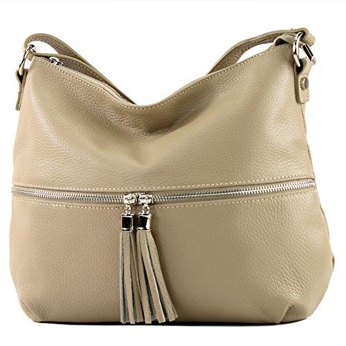 modamoda de - Ital Umhänge- / cuir sac à bandoulière T159, Präzise Farbe (nur Farbe):beige
