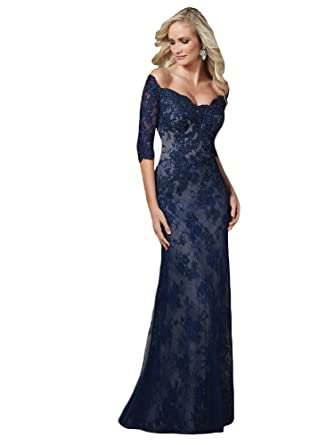 Andybridal Womens Petite Sheath Lace Appliques Full Sleeves Prom Mother Of Birde Dresses Long