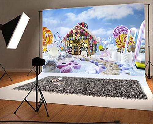 Laeacco 7x5FT Vinyl Photography Background Christmas Gingerbread House Candy Canes and Sweets Surrounded Landscape Lollipops Colorful Backdrop Children Baby Girls Photo Portrait Shoot Video Prop - Candy Cane Backgrounds