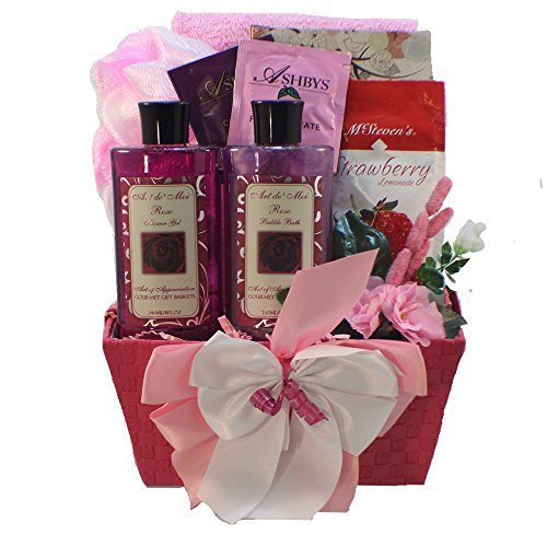 Tranquil Delights Spa Bath and Body Gift Basket Set with Tea and Cookies (Rose)