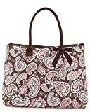 Belvah Quilted Paisley Large Tote Bag (Brown), Bags Central