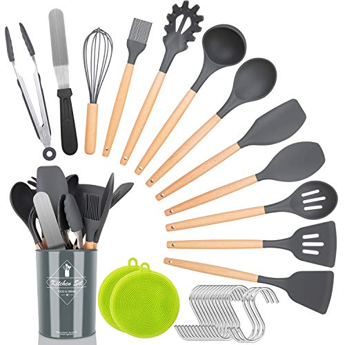Kitchen Utensil Set,30 Pcs Silicone Cooking Utensils with Wooden Handles,Nonstick Cookware Utensils Kitchen Gadgets Set…