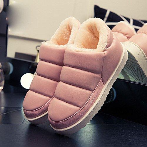 Startseite Hause Baumwolle Hausschuhe Schuhe Männer und Frauen Paare Warme Hausschuhe Pu Wasserdichte Wasserdichte Tasche mit Allen Warmen Schuhen,D,34-35