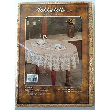 Amazon Com Deluxe Vinyl Tablecloth 60 Quot X 90 Quot Oval Beige