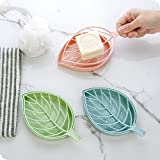 Inditradition Leaf Shape Designer Soap Tray | Drip Soap Box with Water Draining Tray, Pack of 3 (Plastic, Assorted Color)