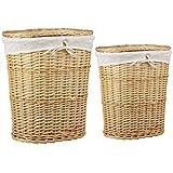 Sunbeam Laundry Wicker Basket, Natural, 2 Piece