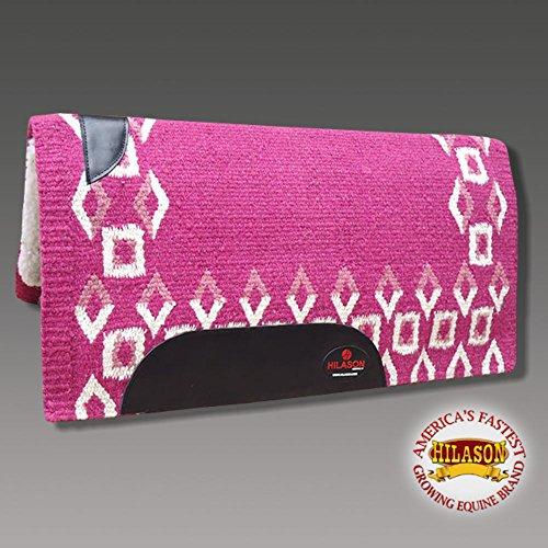 HILASON Made in USA Western Wool Felt Saddle Blanket Pad Pink White