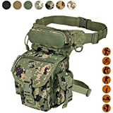 Military Tactical Drop Leg Bag Tool Fanny Thigh Pack Leg Rig Utility Pouch Paintball Airsoft Motorcycle Riding Thermite Versipack, Black/Tan/Army Green/Camouflage...7 Colors