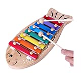 Generic Colorful Woodblock Shape Educational Musical Instrument Toy Natural wooden Cartoon Fishlike Violin Toys Best Gifts For Preschool Boy Girl