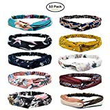 Womens Boho Headband - Floal Fashion Elastic Printed Head Wrap Style Hairband Headscarf Hair Accessories (10PCS-Style 3)