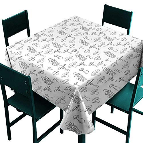Warm Family Mushroom Elegance Engineered Tablecloth Collection of Different Mushrooms Doodle Style Monochrome Display Organic Garden Indoor Outdoor Camping Picnic W63 x ()
