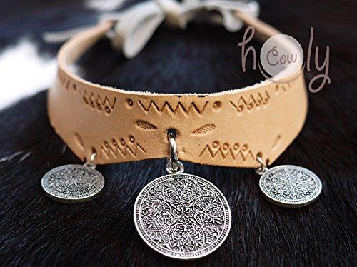 Handmade Leather Collar Medieval Metal Tri-Medallion Pendants