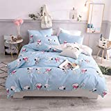 Cenarious Cartoon Snoopy Light Blue American Style Scandinavian Duvet Cover Set Cotton Flat Sheet or Fitted Sheet - 4Pc Bedding Set - Twin Fitted Sheet Set - 59'x78' - 150x200cm(Fitted Sheet)