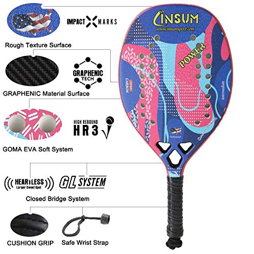 Amazon.com : Insum Graphite Carbon Beach Tennis Racket Paddle Racquet 23mm Thickness GRAPHENIC TECH GL System and Heartless System : Sports & Outdoors