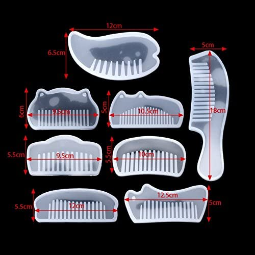Yalulu 8 Pieces Transparent Comb DIY Silicone Mold Jewelry Resin Casting Mould for DIY Jewelry Craft Making