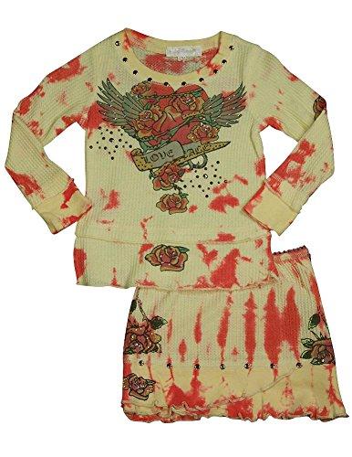 Baby Sara - Little Girls Long Sleeve Tie Dye Skirt Set, Yellow, Red 29187-2T
