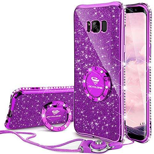 the best attitude 69bb4 61376 OCYCLONE Galaxy S8 Plus Case, Glitter Cute Phone Case for Women Girls with  Kickstand, Bling Diamond Rhinestone Bumper with Ring Stand Compatible with  ...