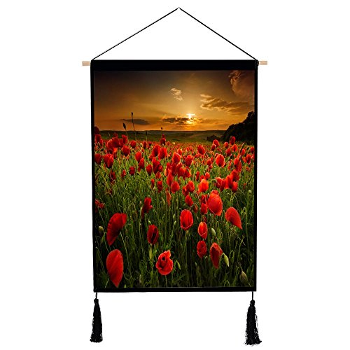 - Get Orange printing Wall Hanging - Polyester Poppy field at sunset Scenery Home Art Decor Beautiful Apartment Dorm Room Decoration, 18